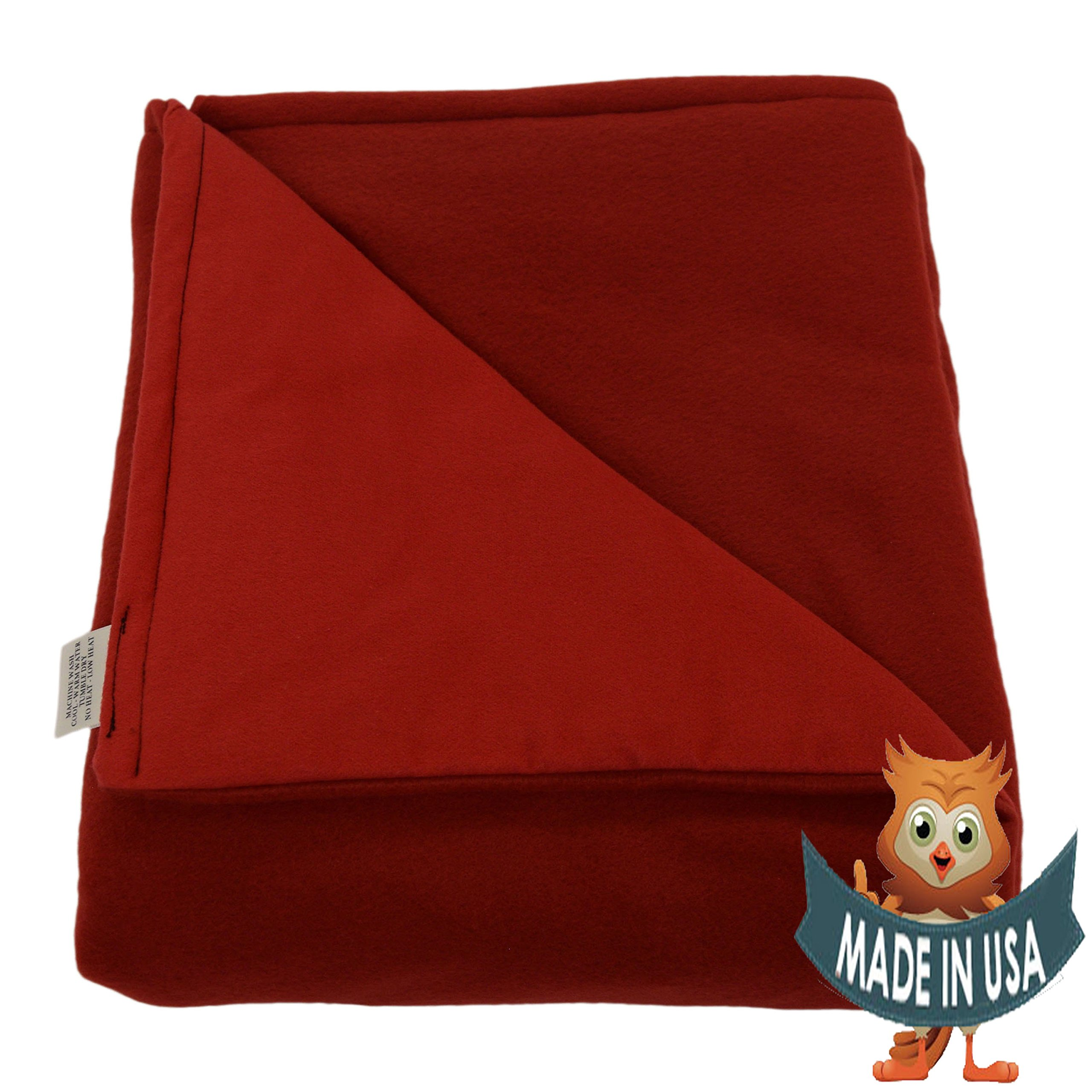 Adult Large Weighted Blanket by Sensory Goods 15lb Medium Pressure - Red - Fleece/Flannel (42'' x 72'')