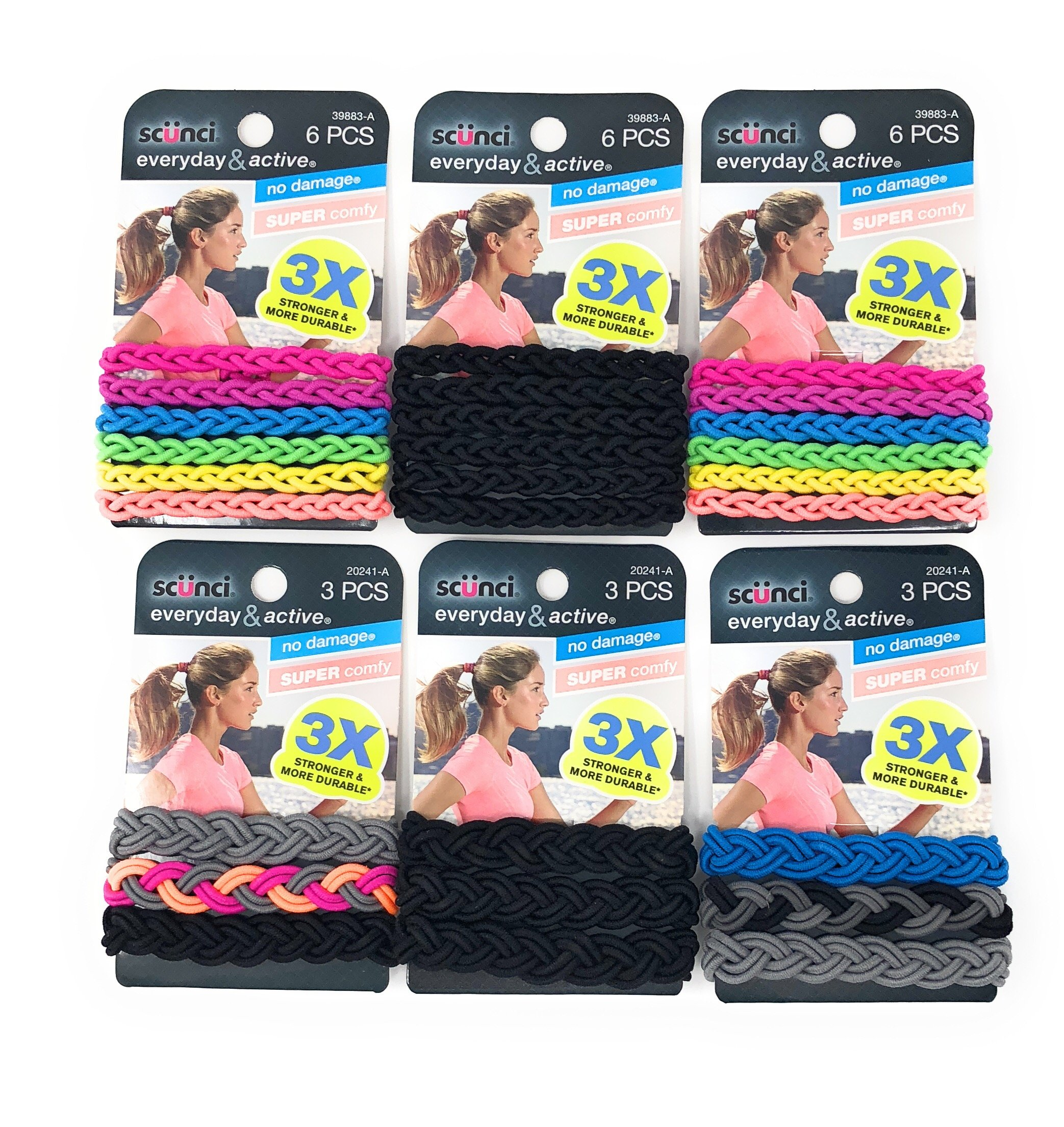 Scunci Everyday & Active Braided No Damage and Super Comfy Hair Elastics Bundle (Assorted Colors) - Small (3 PK x 6 Pcs) and Large (3 PK x 3 Pcs) by Scunci