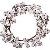 Farmhouse Full White Fluffy Cotton Boll Wreath Stem Branches - Welcome Home Decor Floral Artificial Wreath Bouquet for Front Door, Wall, Hallway & Entryway - 22 Inches