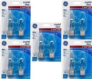 GE Lighting 60-Watt 580-Lumen Vibration Resistant B13 Light Bulb, Crystal Clear, 10 Bulbs