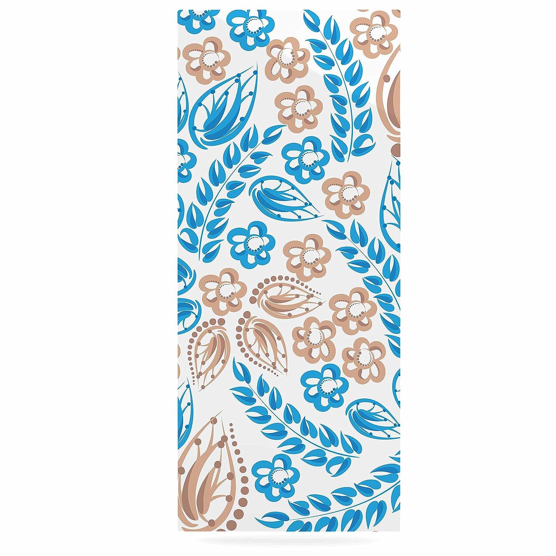 24 x 36 Kess InHouse Maria Bazarova Blue White Flowers Abstract Beige Luxe Rectangle Panel