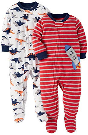 77cf9afa0 Amazon.com  Carter s Baby and Toddler Boys  2-Pack Fleece Footed ...