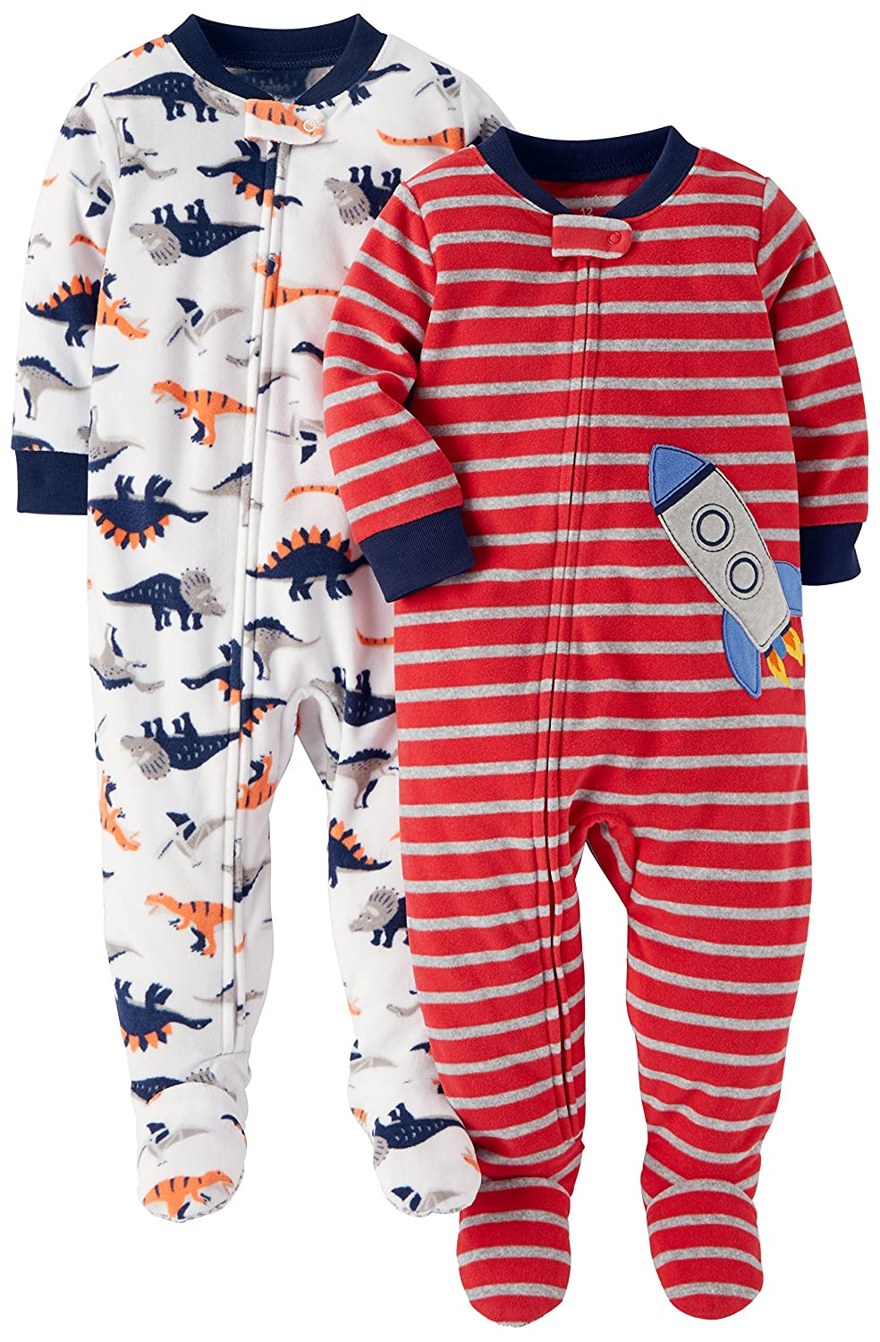 6548dbf70c85 Amazon.com  Carter s Baby and Toddler Boys  2-Pack Fleece Footed ...