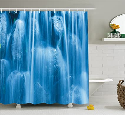 Ambesonne Waterfall Decor Shower Curtain By Freezing Cold Frozen On The Rocks Of A