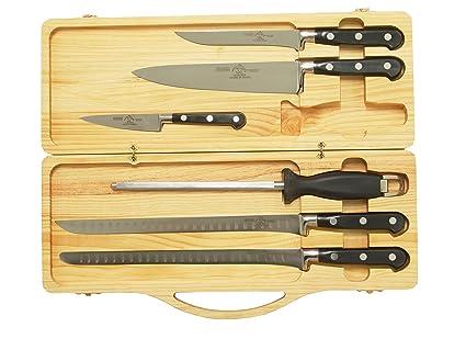 Sonpó Online - Modelo ECJNE - Pack de cuchillos para corte de jamón - Mangos de color negro y estuche de madera.