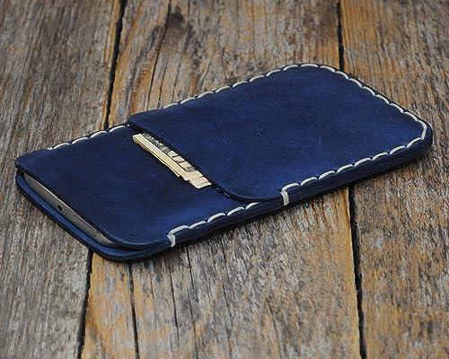 Azul estuche billetera funda de cuero para Google Pixel 4 XL, 3 XL con bolsillos para tarjetas de crédito. Estuche de manga. Cosido a mano: Amazon.es: Handmade