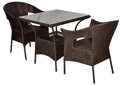 FurniFuture™ Venus Outdoor Patio Furniture Set 2+1 - (Brown)