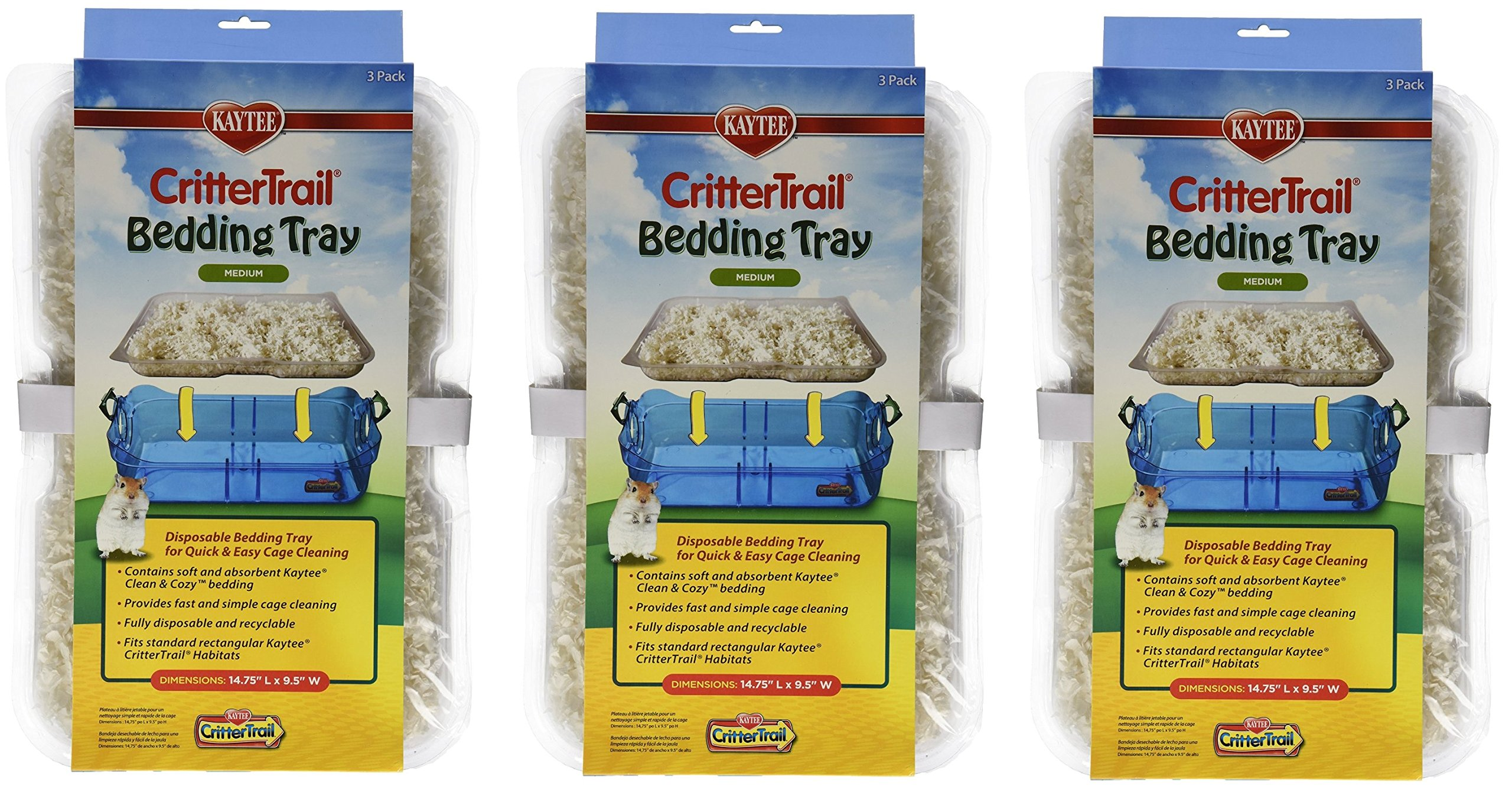Kaytee CritterTrail Habitat Disposable Bedding Tray, 9-Count Total (3 Packages with 3 Trays Each)