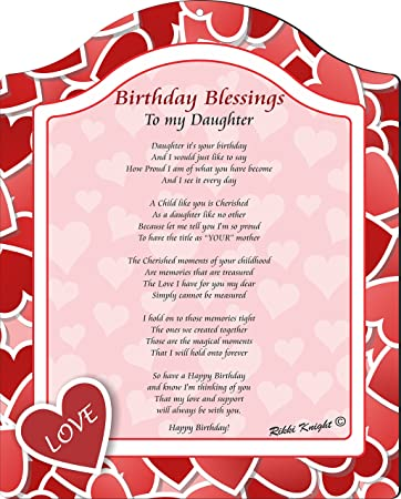 rikki knight birthday blessings to my daughter from mom red heart love collection touching