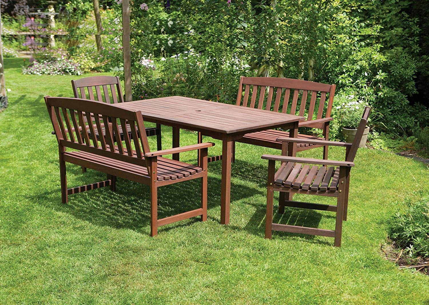 6 seater wooden garden dining set 5 piece 2 x 2 seater garden bench and 2 garden armchairs fsc hardwood amazoncouk garden outdoors