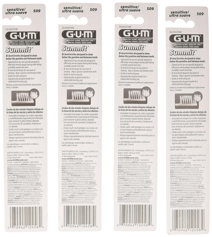Amazon.com: Sunstar 509P GUM Summit+ Toothbrush, Compact Head, Sensitive Bristle (Pack of 12): Industrial & Scientific