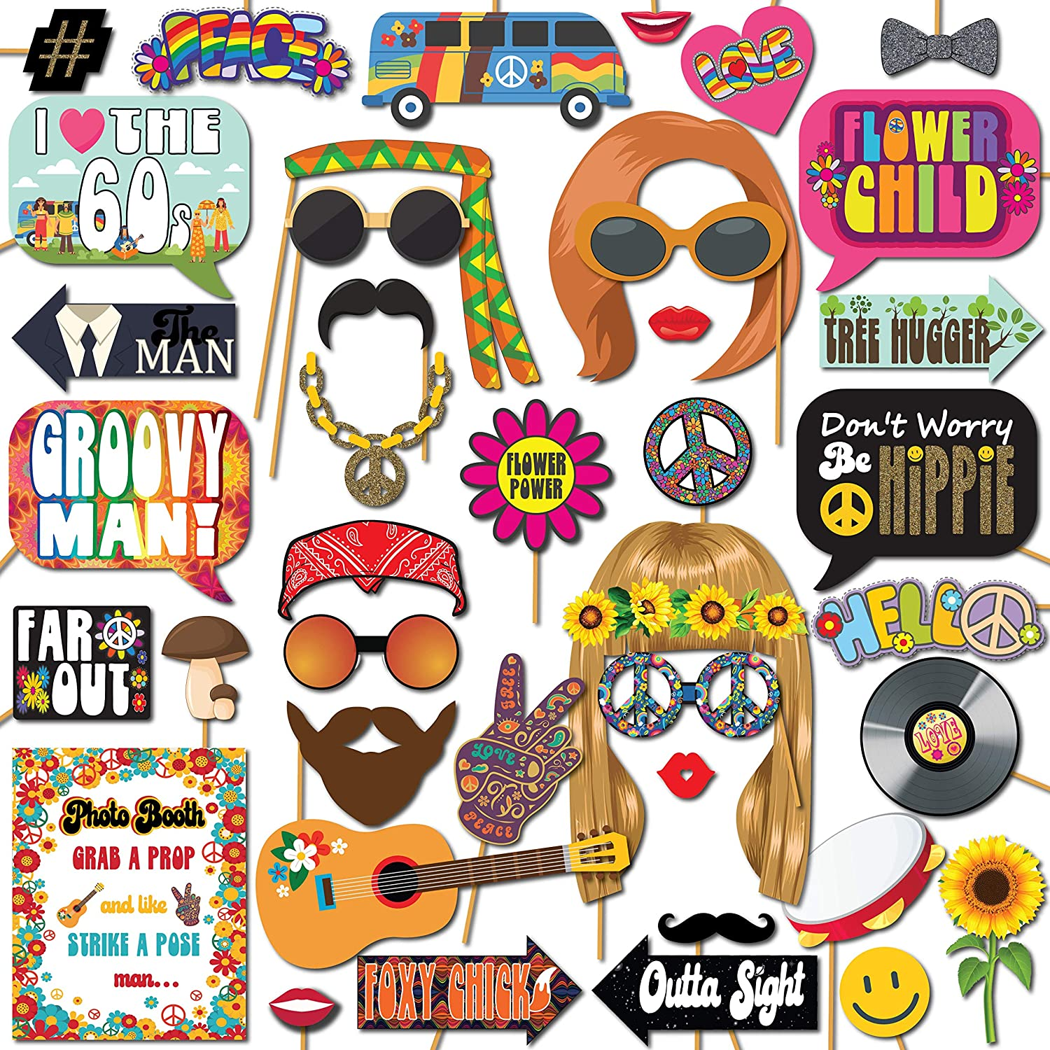 1960s Groovy Hippie Party Throwback Party Theme Photo Booth Props, 41 Pieces with Wooden Sticks and Strike a Pose Sign by Outside The Booth