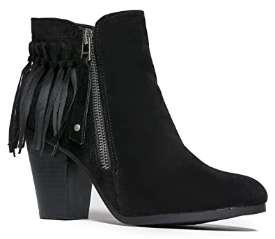 f7e9812d6d048 Breckelle's Gail-26 Women's Block Stacked Heel Fringe Trim Ankle Booties