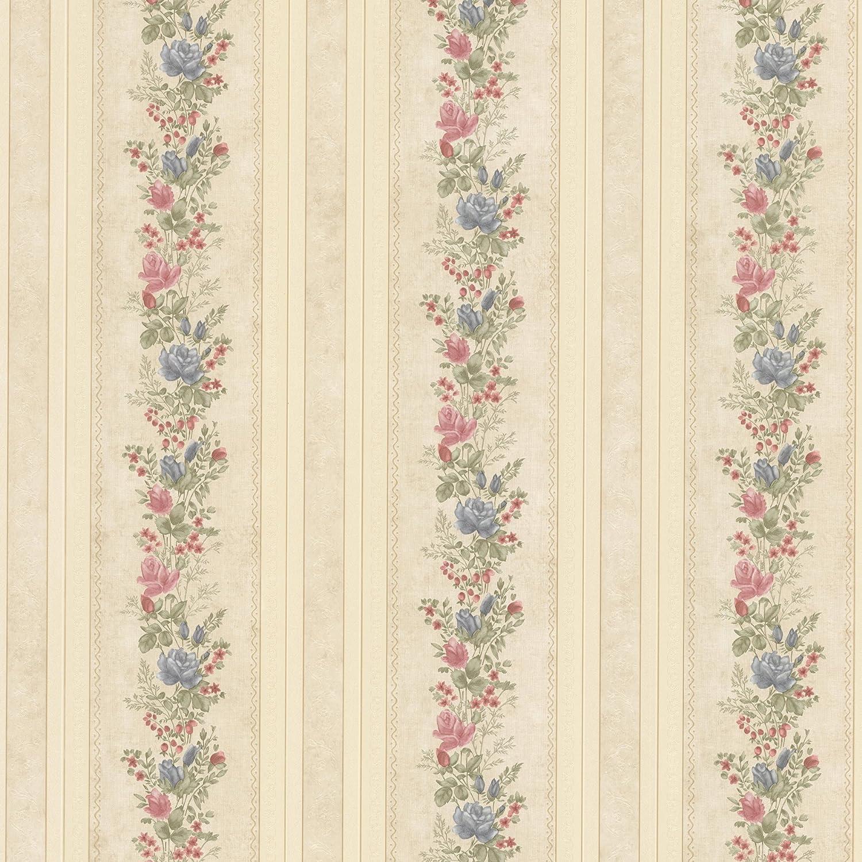 Mirage 992 68351 Alexis Satin Floral Stripe Wallpaper Beige