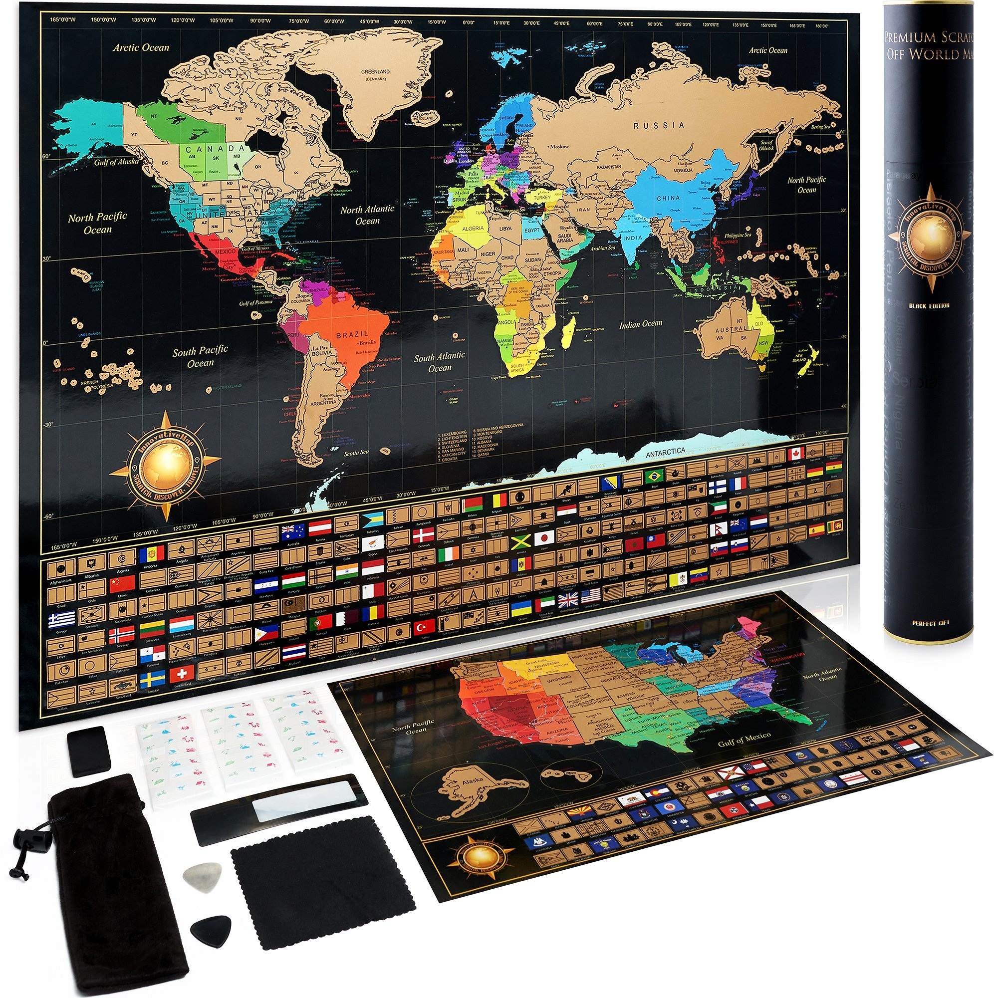 Scratch Off World Map Poster + Deluxe United States Map - Includes Complete Accessories Set & All Country Flags - Premium Wall Art Gift for Loved Ones - Bonus USA Traveler's eBook