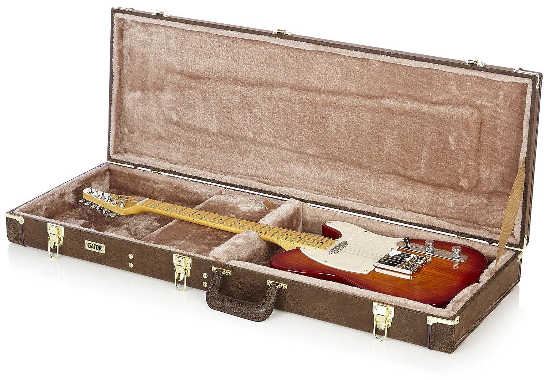 GATOR GW-ELECT-VIN - Estuche para guitarra eléctrica de madera, color marrón: Amazon.es: Instrumentos musicales