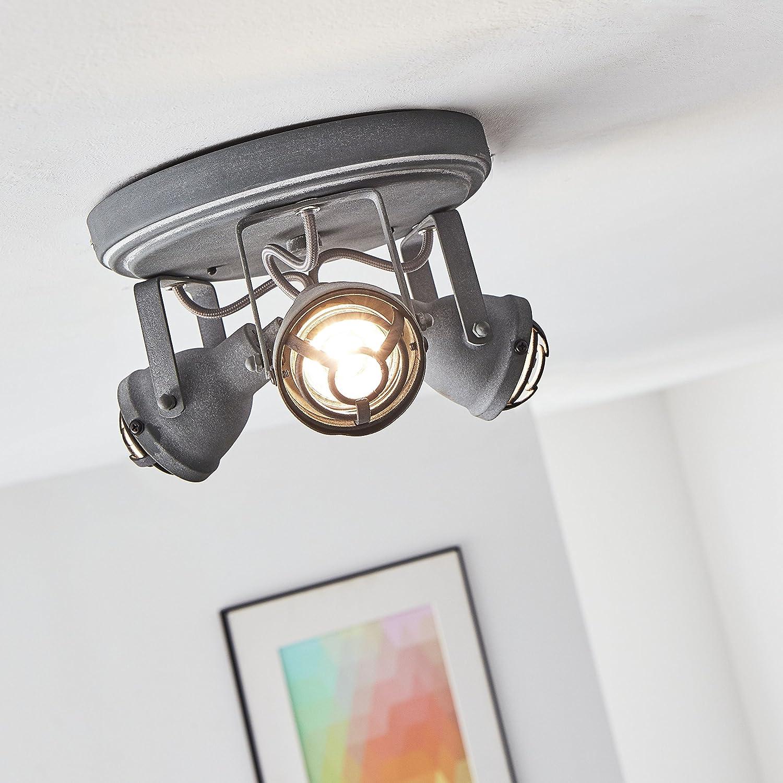 Vintage LED Spotrondell   Deckenleuchte im Industrial Used-Look, 3x 4W GU10 LED inkl., 3x 350 Lumen, 3000K warmweiß, Metall, grau Beton