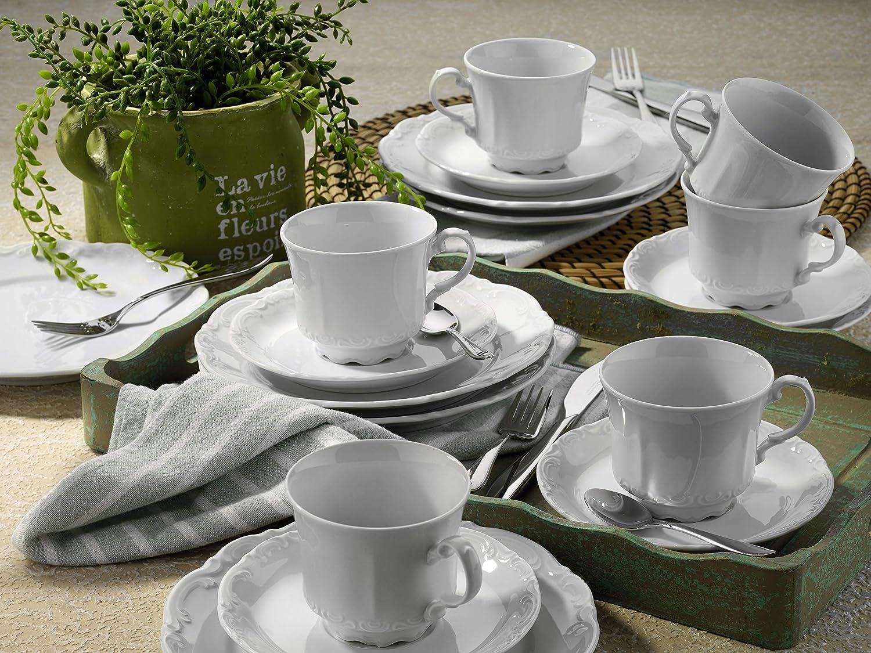Mitterteich Service de Table en Porcelaine 30 pi/èces pour 6 Personnes