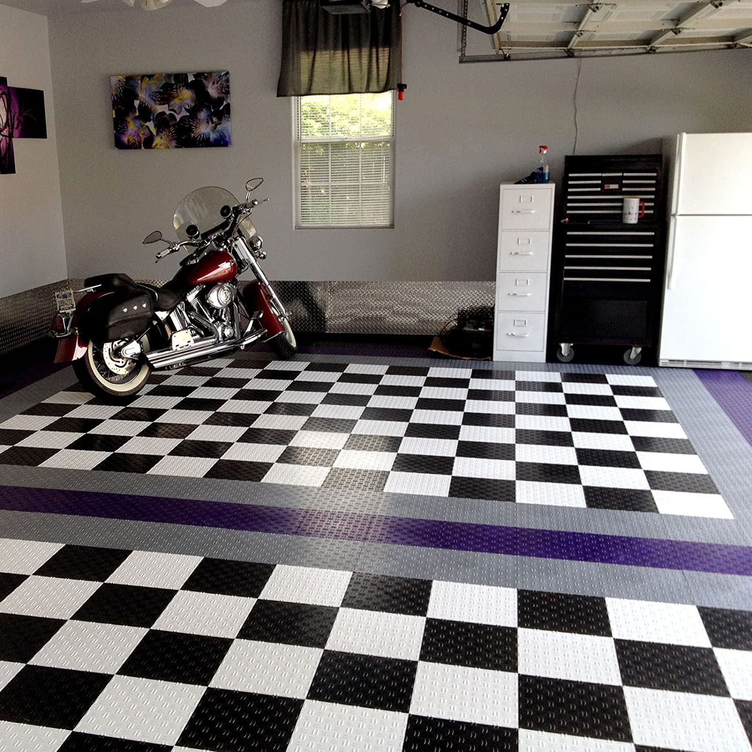 Incstores 12in x12in grid loc garage flooring tiles 12 tile pack incstores 12in x12in grid loc garage flooring tiles 12 tile pack interlocking modular floor system with built in drainage and snap together installation dailygadgetfo Image collections