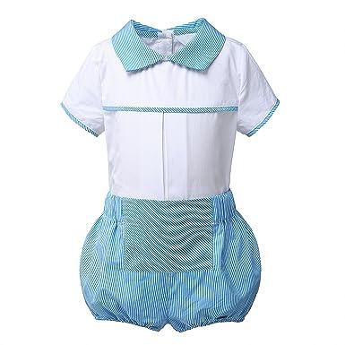 Lajinirr Baby Boys Camisa Blanca con Traje a Rayas Corto ...