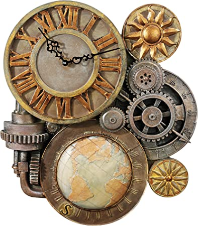 Design Toscano Gears of Time Steampunk Wall Clock Sculpture, Medium 43.25 cm, Polyresin, Full Color