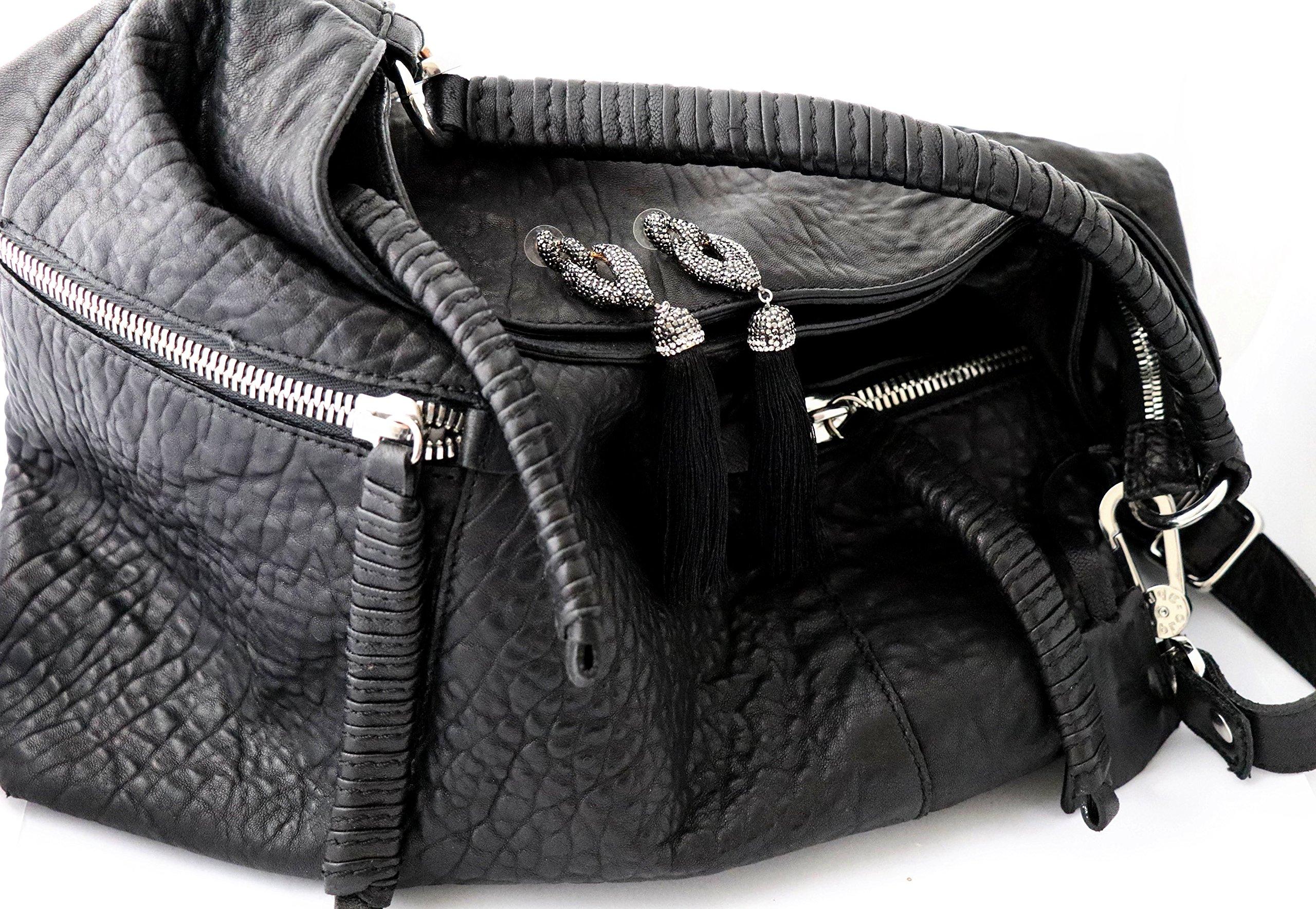 NEW Big Bold Beautiful High End Fashion Tassel Rhinestone Drop Dangle Druzy CZ Stud Earrings   28 Designs (Dancing Black) by Trend Builder Inc (Image #2)