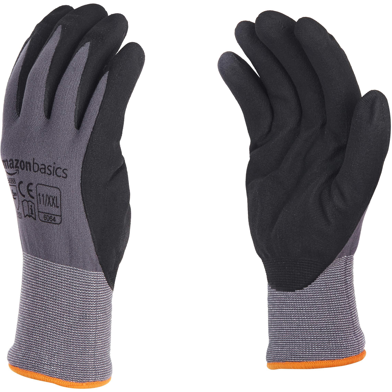 AmazonBasics Micro-Foam Nitrile Coated Gloves, Nylon Liner Fiber, Touch Screen, Grey, Size 11 (XXL), 12-Pair