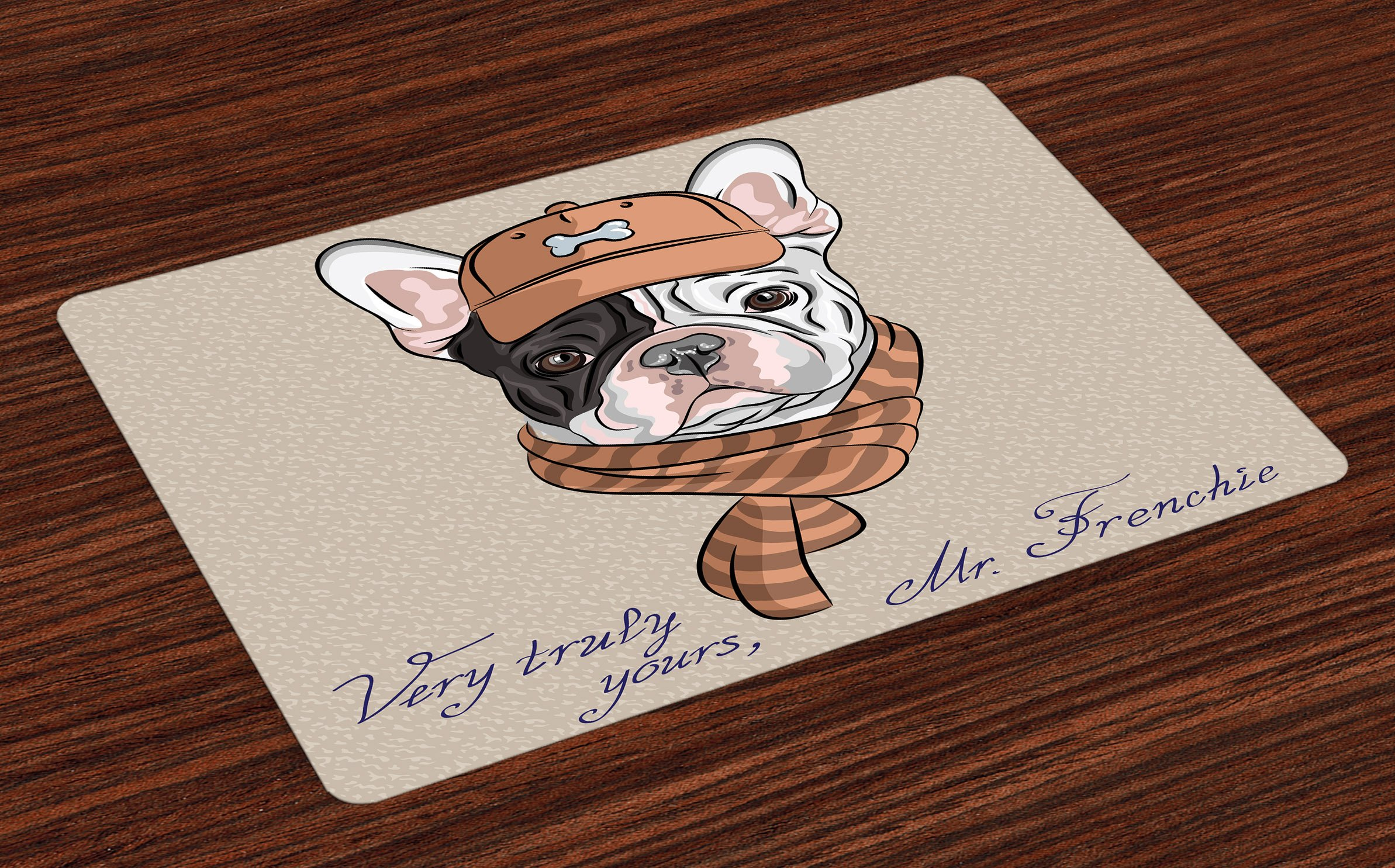 Lunarable Vintage Place Mats Set of 4, Funny Hipster French Bulldog with Cap and Lines Scarf Punk Animal Humor Art, Washable Fabric Placemats for Dining Room Kitchen Table Decor, Ecru Pink Brown