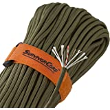 620 LB SurvivorCord | The Original Patented Type III Military 550 Paracord/Parachute Cord with Integrated Fishing Line, Multi