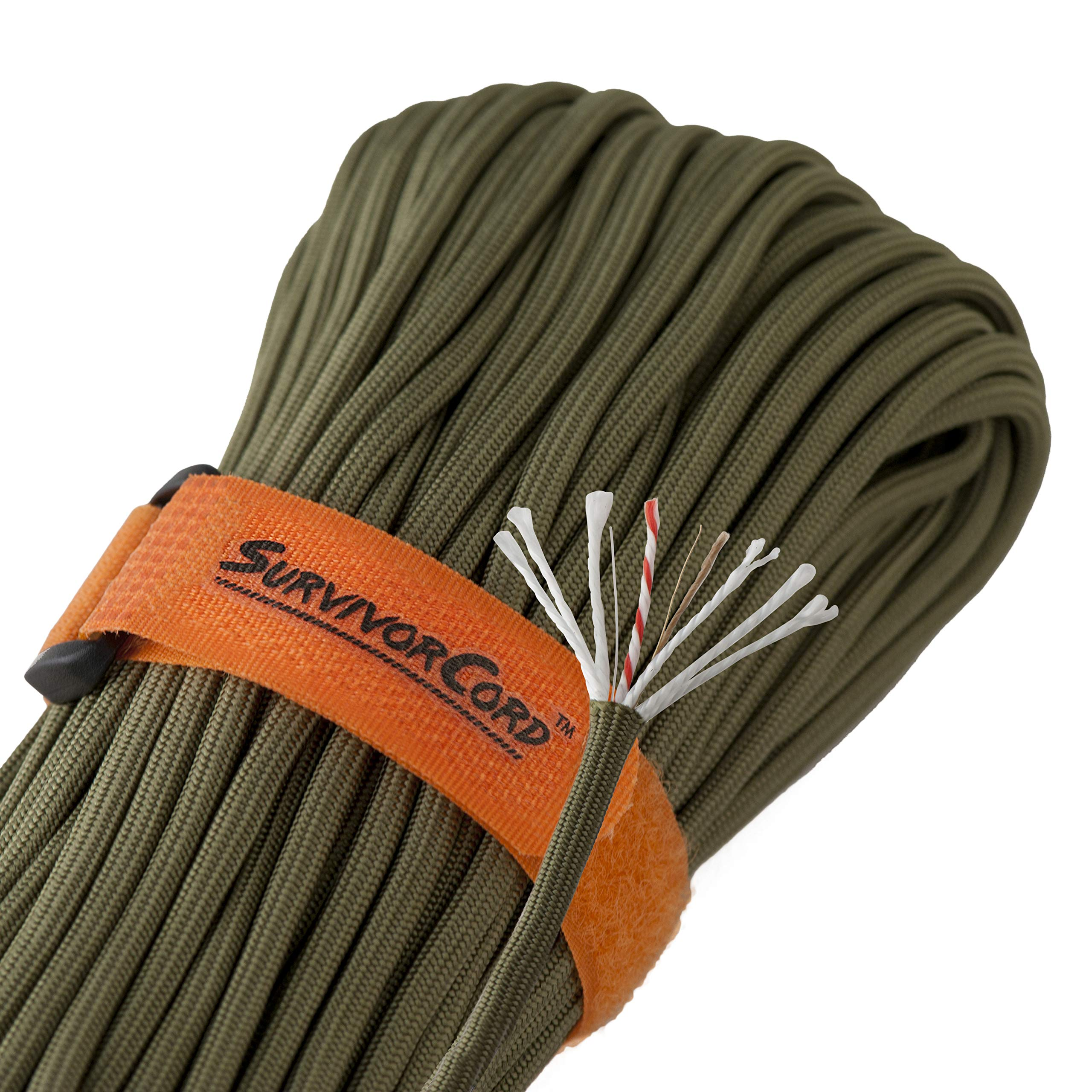 Titan SurvivorCord | Olive-DRAB | 103 Feet | Patented Military Type III 550 Paracord/Parachute Cord (3/16'' Diameter) with Integrated Fishing Line, Fire-Starter, and Utility Wire.