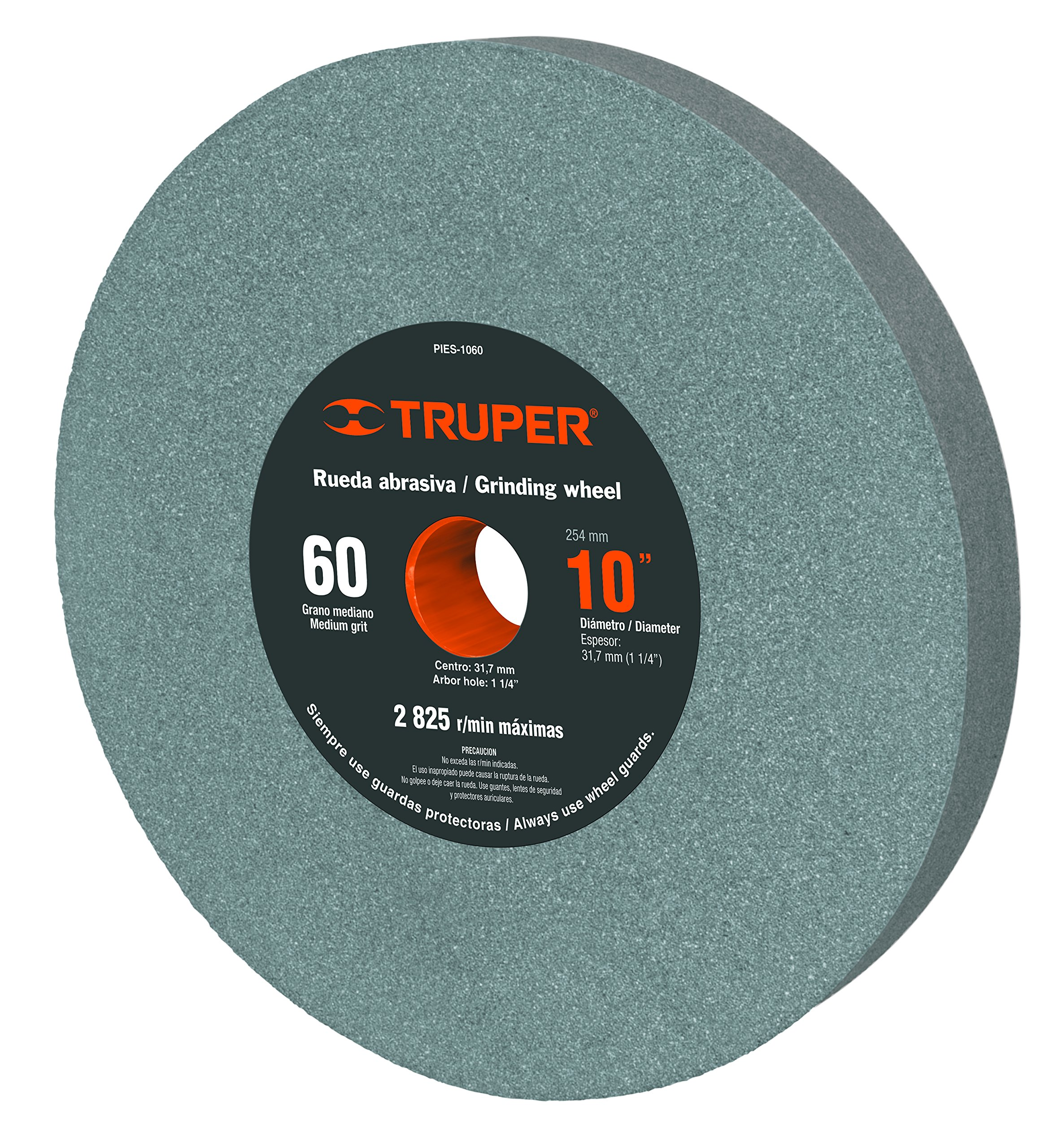 TRUPER PIES-1060 10'' Aluminum Oxide Bench Grinding Wheels. Grit=60, Thickness=1-1/4'', Drill=1-1/4''. 1 Pack