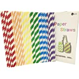 Biodegradable Paper Straws 150PCS with Recycable Packaging for Drinking with 6 Multi-Color