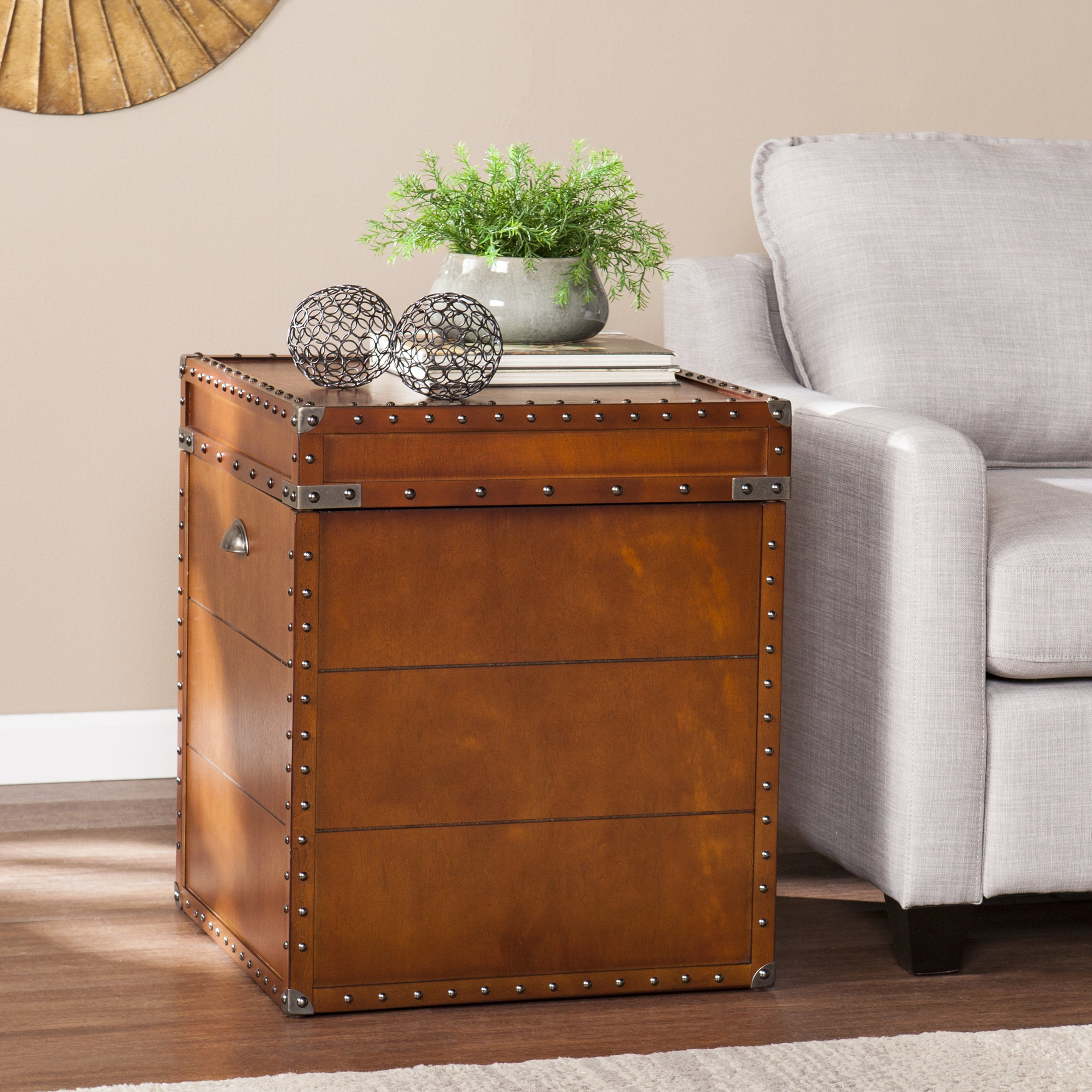 Southern Enterprises Steamer Trunk End Table - Rustic Nailhead Trim - Refinded Industrial Style by Southern Enterprises (Image #2)
