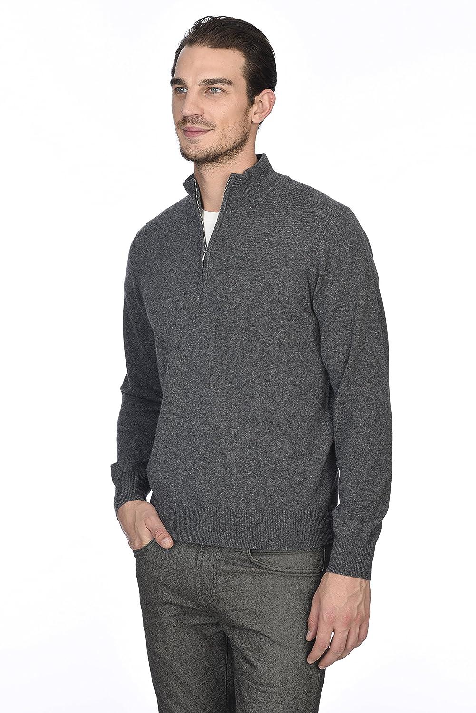 State Cashmere Mens 100/% Pure Cashmere Pullover Half Zip Mock Neck Sweater