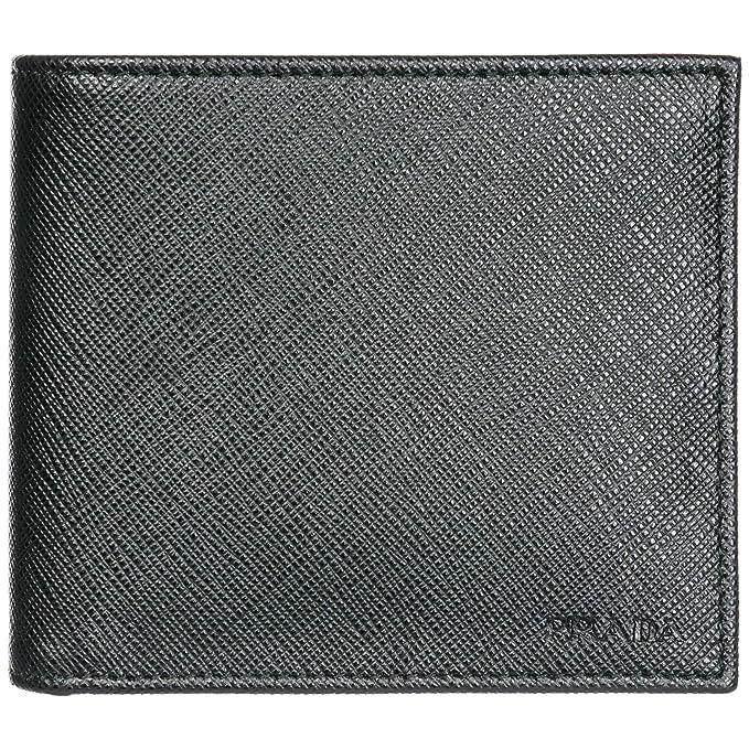 Prada cartera billetera bifold de hombre en piel nuevo negro