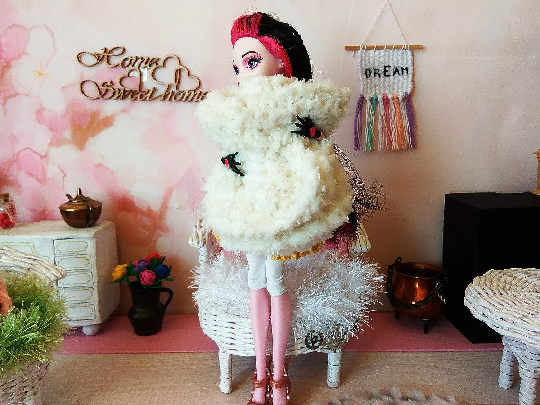 Fluffy blanket knitted miniature dollhouse plaid BJD doll soft rug furniture
