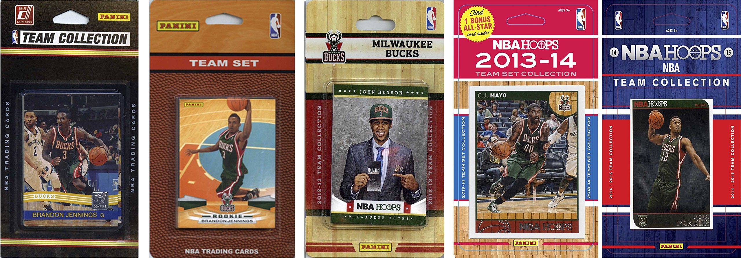 NBA Milwaukee Bucks 5 Different Licensed Trading Card Team Sets, Brown, One Size