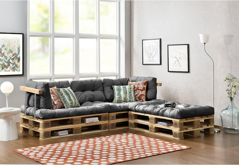 en.casa Cuscini per Divano Palette Euro mobili DIY Cuscini Divano per Palette per Dentro Ideale per Salotto Giardino d/´Inverno 3 x Cuscino per Il Sedile e 5 x Cuscino per Schienale Grigio