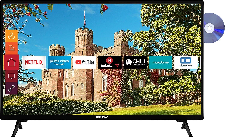 Telefunken Xf32j519d 32 Zoll Fernseher Smart Tv Inkl Prime Video Netflix Youtube Full Hd Dvd Player Bluetooth Works With Alexa Triple Tuner Modelljahr 2021 Heimkino Tv Video