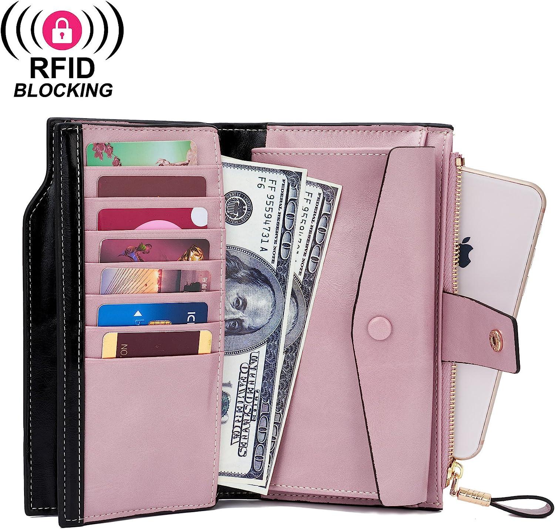 WOZEAH Womens RFID Blocking Large Capacity Luxury Wax PU Leather Clutch Wallet Card Holder Organizer Ladies Purse
