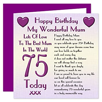 Mum 75th Happy Birthday Card