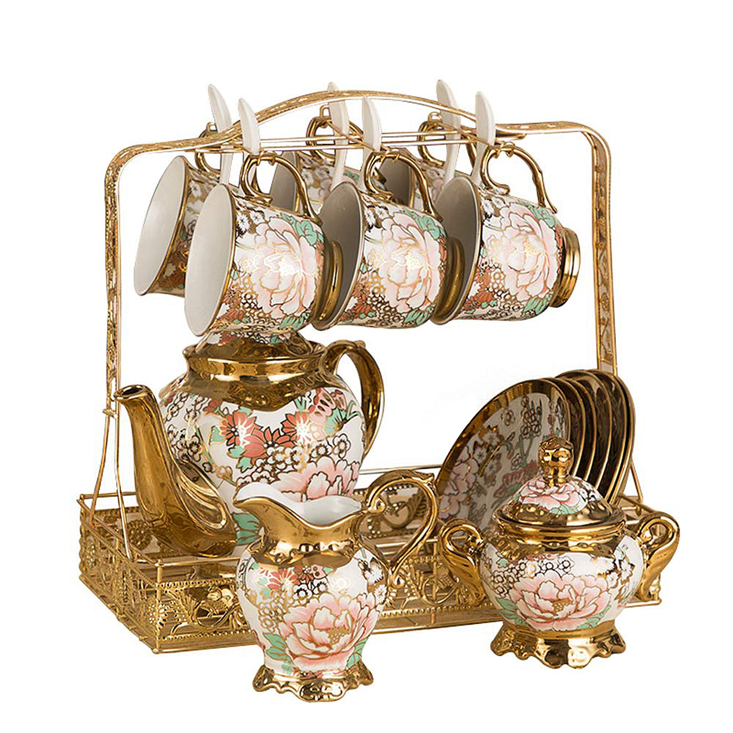 Hunkie Coffee cup set set Whole set European bone china ceramic cup and saucer tea set tea cup household water cup (Butterfly set)