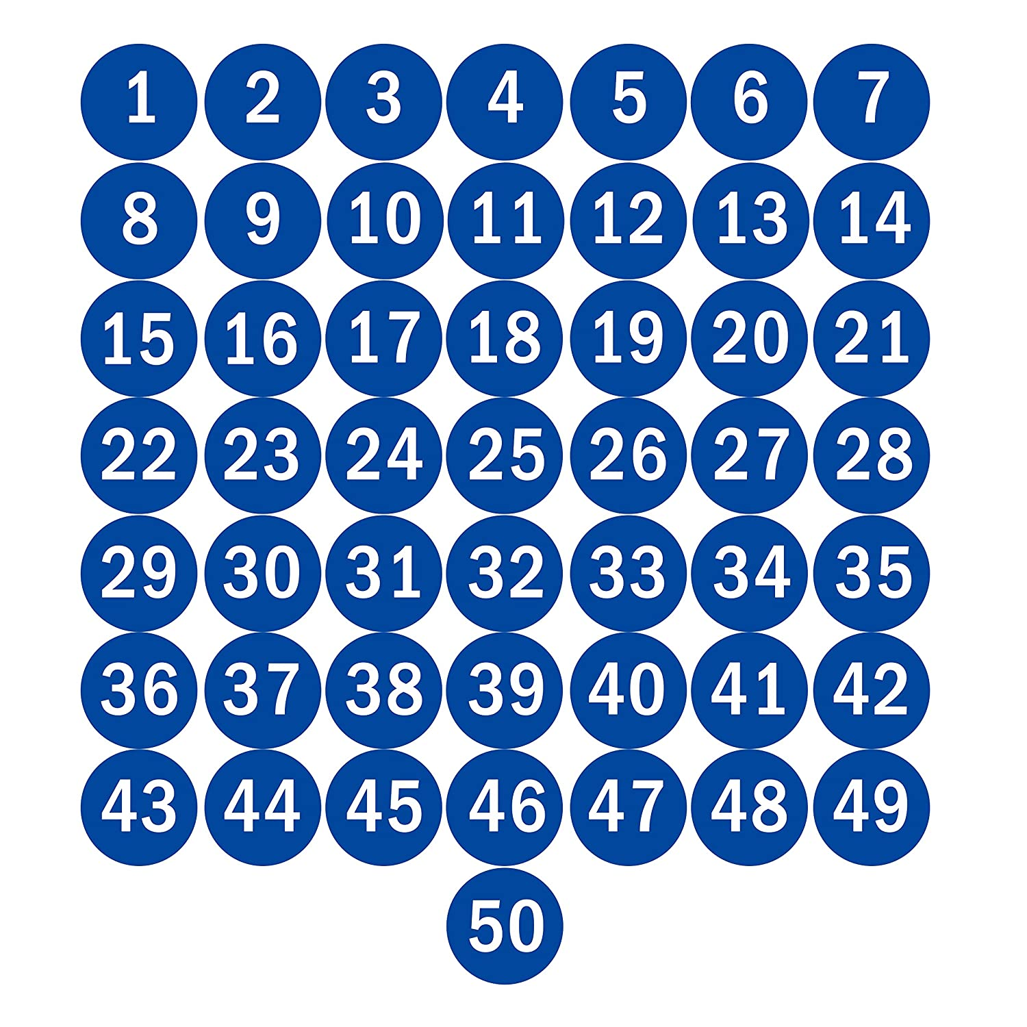 Amazon com navadeal 2 3 round number 1 50 adhesive stickers in blue red black color inventory storage labels great for marking bins or toolbox