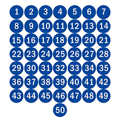 Navadeal 2 blue round number 1 50 adhesive stickers identify inventory storage labels