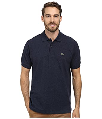 e9abe3dc Lacoste Men's Short Sleeve Classic Chine Fabric L.12.64 Original Fit Polo  Shirt, Dark