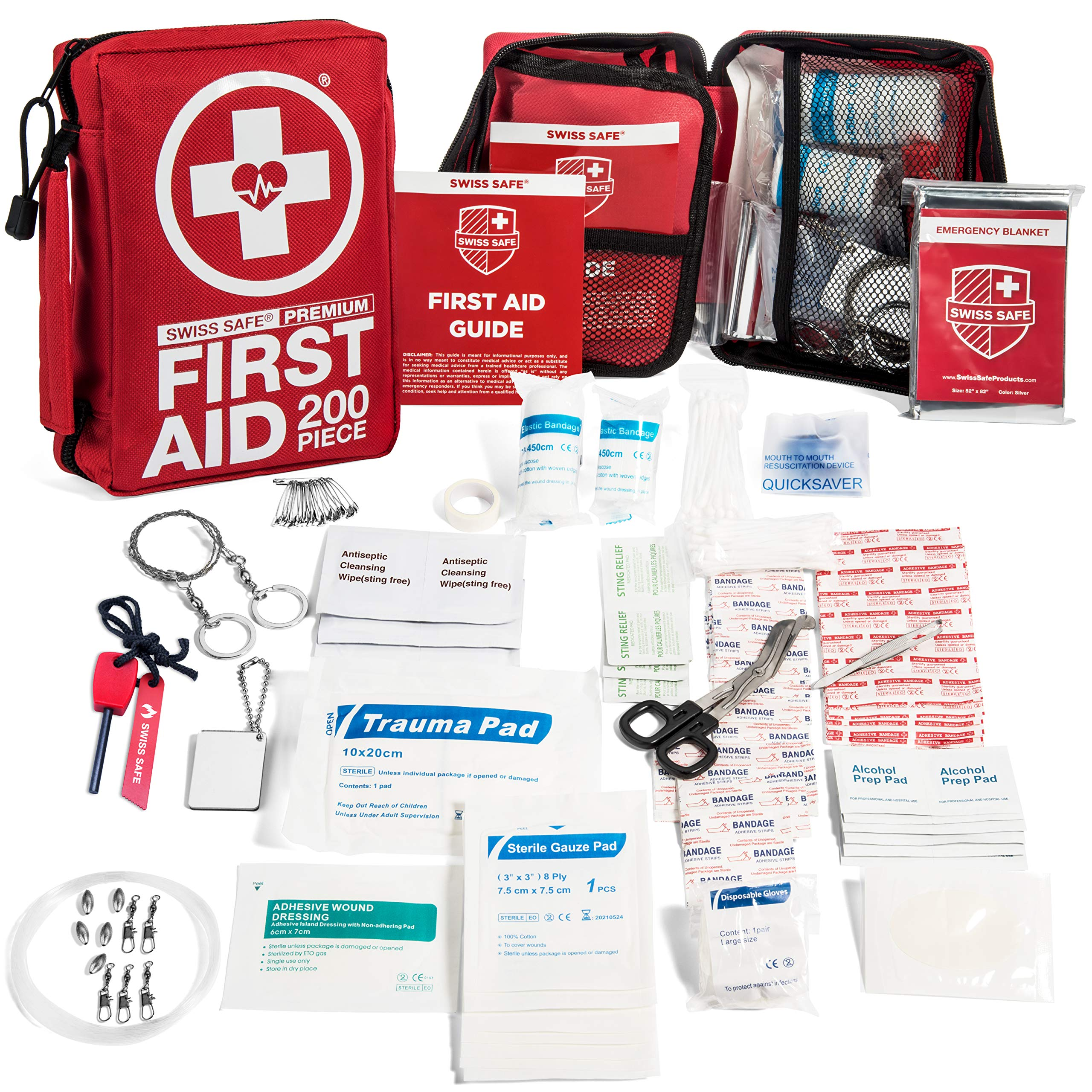 200-Piece Professional First Aid Kit for Home, Car or Work : Plus Emergency Medical Supplies for Camping, Hunting, Outdoor Hiking Survival