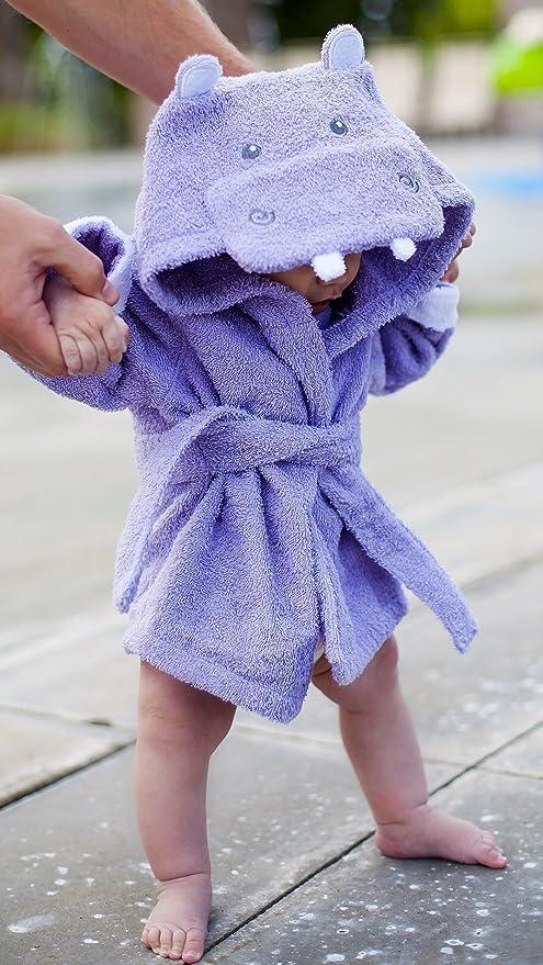 baby-steps, púrpura de hipopótamo albornoz con capucha albornoz y toalla de, 0