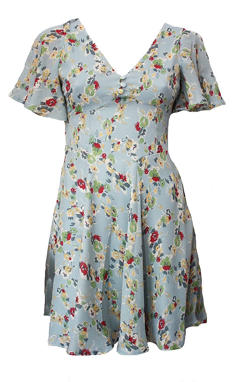 40s Pin-Up Vintage Style Chiffon Tea Dress. RRP: 锟