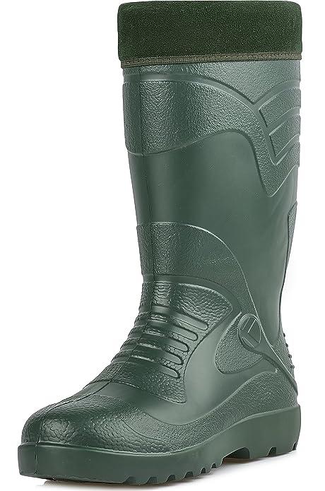 Ladeheid EVA Botas de Goma Zapatos de Seguridad Calzado Hombre KL064 (Oliva, 42)