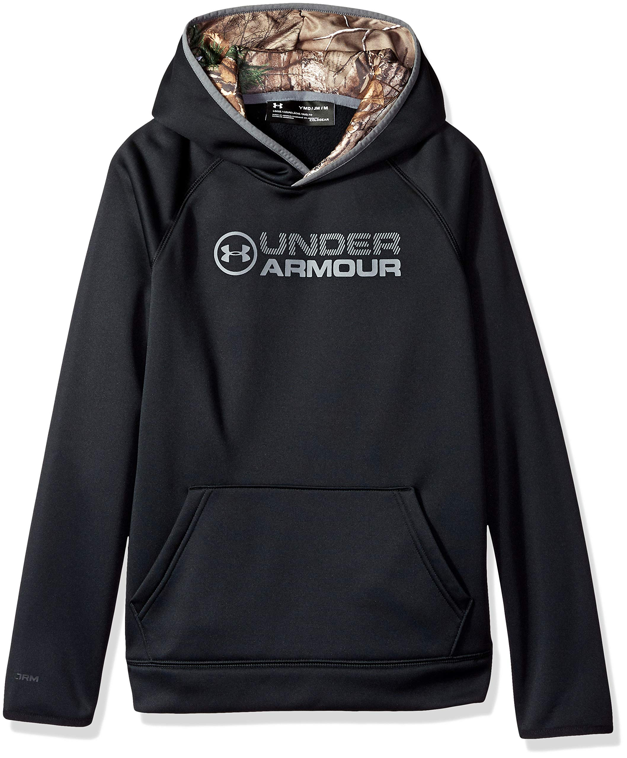 Under Armour Outerwear Boys Fleece Stacked Hoodie, Black/Graphite, Small by Under Armour
